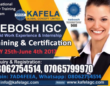 NEBOSH IGC + Paid Work Experience/Internship (May 2017 Special)