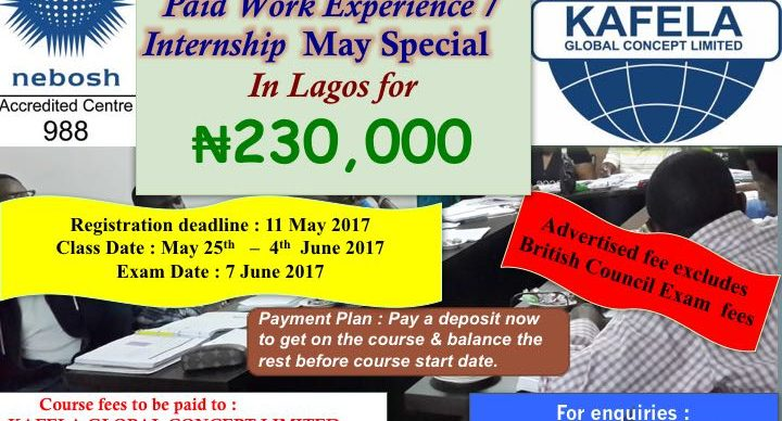 NEBOSH Special Training @ N220,000
