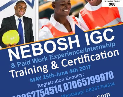 Kafela Global Services Holds NEBOSH IGC + Paid Work Experience/Internship Training in Lagos