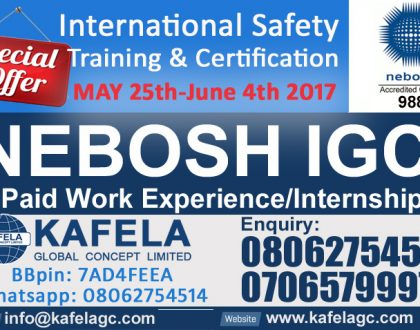 NEBOSH IGC + Paid Work Experience & Internship For May 2017