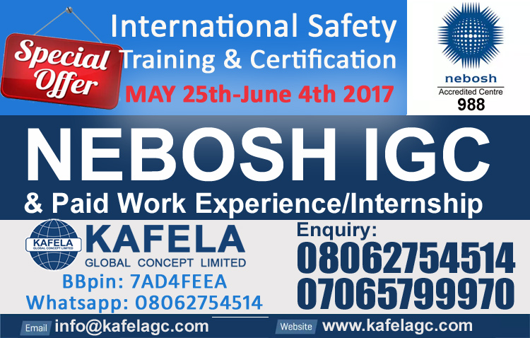 NEBOSH IGC Paid Work Experience Internship For May 2017