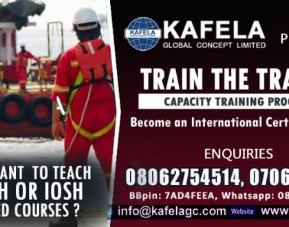 Do you want  to teach NEBOSH or IOSH certified courses? Attend Kafela GC Train the Trainer Course