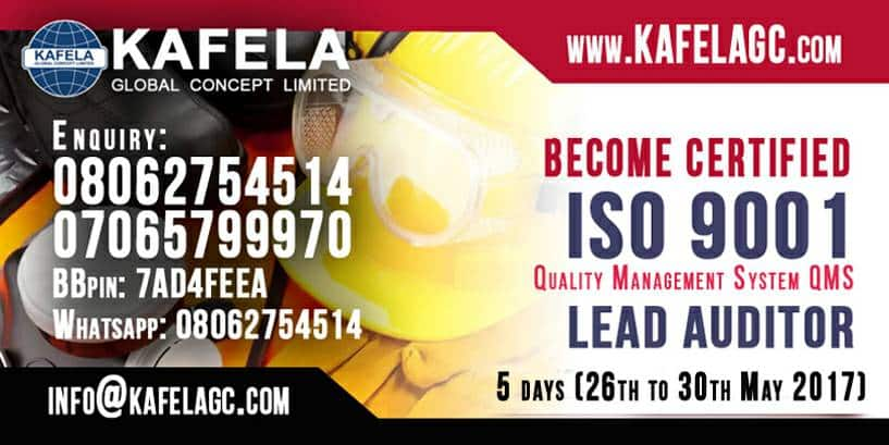 Which is the best Accredited Training Centre for ISO 9001 Lead Auditor in Nigeria