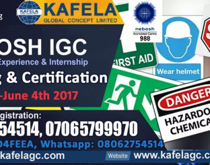 Kafela Global Concept (KGCL) is the best Accredited Training Centre for NEBOSH IGC in Nigeria